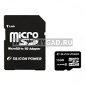 ����� ������ MicroSDHC Silicon Power �� 16 gb (�������)